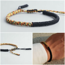 Bracciale uomo nero braccialetto Buddista Tibetano da corda Buddha nodo knots