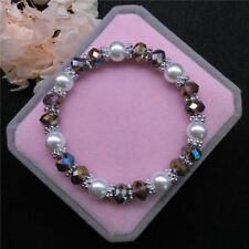 Wholesale Fashion Jewelry 8mm Pearl 8mm Crystal Beads Stretch Bracelet FR10