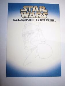 STAR WARS CLONE WARS SKETCH CARD NON SIGNED VERY RARE CLONE WARS ART HAND-DRAWN