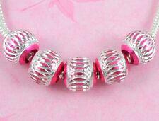 100 Bulk Lots Hot Pink ALUMINIUM Beads Fit European Charm Bracelet AL5