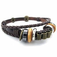 MENDINO Men's Women's Alloy Leather Bracelet Tribal Braided Wrap Bangle Brown