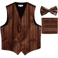 New Men's vertical stripes Tuxedo Vest Waistcoat_bowtie & hankie brown formal