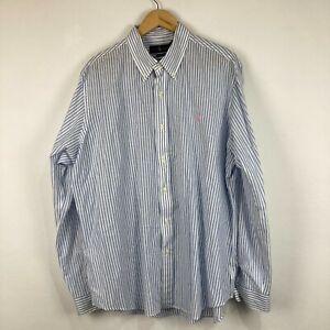 Ralph Lauren Mens Button Up Shirt Size XL White Striped Long Sleeve Linen Blend
