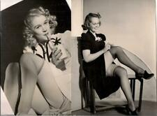 2 Pin-up Cheesecake Photos~Nylon Clad Sexy Blonde Women 1940s~Glossy 7x9 & 6x9in