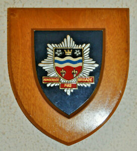 Humberside Fire Brigade mess wall plaque shield crest coat of arms service