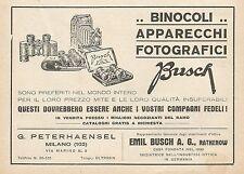 Z0557 Binocoli e apparecchi fotografici BUSCH - Pubblicità del 1930 - Advertis.