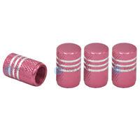 4 Stück YOU.S Alu Ventilkappen Pink / Rosa mit Dichtung für Auto PKW LKW