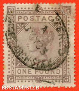 """SG. 136. J127 a. """" GG """". £1.00 Brown - Lilac. A """" 3rd May 1883 """" oval us B56899"""