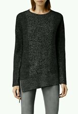 Allsaints Dark Grey Black Lace Tie Up Bow Knitted Jumper Sweater Size M NWOT