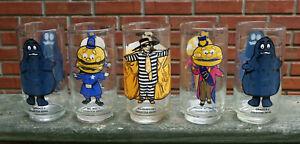 5 Vtg McDonald's Glass Tumblers-Mayor McCheese-Big Mac-Hamburgler-2 Grimace