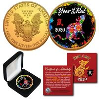 2020 Lunar YEAR OF THE RAT 24K Gold Gilded 1 OZ AMERICAN SILVER EAGLE PolyChrome