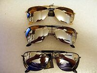 MIRRORED AVIATOR SUNGLASSES WITH BROW BAR SILVER , BLACK OR GOLD FRAME UNISEX