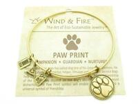 Wind and Fire Paw Print Charm Wire Bangle Stackable Bracelet Made In USA Gift