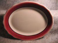vintage old Jackson Custom China Falls Creek Pa platter white cranberry red