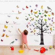Colorful Butterflies Tree Wall Stickers Art Decal Paper Nursery Kids Room Decor