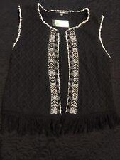 Miss Me Beaded Fringe Vest Juniors Size L