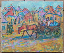Nathan Gutman huile sur toile signée Judaica Art Ecole de Paris Les voyageurs