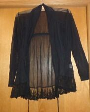Woman's sz XL - Black TOPPER - Tribal - Shawl collar - Sheer - Drawstring - SEXY