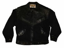 VTG 1980s Guess Georges Marciano Black Denim/Leather Jacket sz M Trucker A$AP
