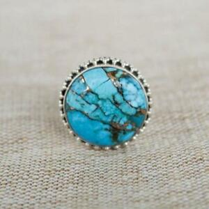 925 Sterling Silver Blue Copper Turquoise Round Handmade GENUINE Ring