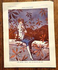 1920 La Vie Parisienne French Magazine Image -- French Girl in Autumn