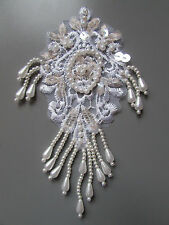Ivory Beaded Sequin Embroidered  Applique Sewing/Costume/Crafts/Victorian/Bridal