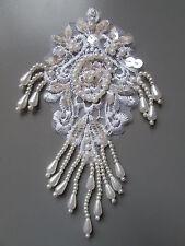 Ivoire Perles Sequin brodé Applique Couture/Costume/Loisirs créatifs/Victorien/