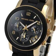 Michael Kors MK5191 Watch RUNWAY Chronograph Black Silicone Gold-Tone MK5191