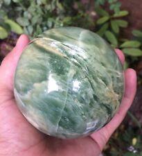 92 mm Translucent Green Serpentine Jade Sphere 1145 grams Healing Crystal