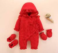 Baby clothes newborn infant girl winter warm padded thick bodysuit+ shoes+gloves