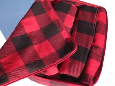 Nice! Queen Set Flannel Bed Sheets in Montana Plaid/Buffalo Check/Red & Black