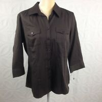 NWT Womens STYLE & CO Dark Brown Cotton 3/4 Sleeve Button Down Shirt Top Size 12