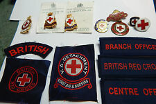Set of  vintage Red cross badges nice variety of cloth and enamel badges