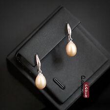 Boucles d`Oreilles Nacre Perle Culture Goutte Rose Argent Massif 925 8mm-9mm A