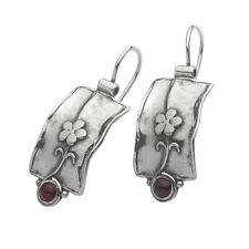 Delicious Shablool Earrings Garnet Red Sterling Silver Ladies