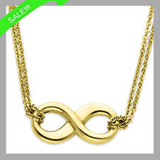 Infinity Love Double Chain Necklace In 14k Solid Yellow Gold 17Inches ONLY $220