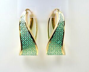 Pre-Owned Aqua Enamel Large Hoops Yellow  Gold 18k. Made in Italy