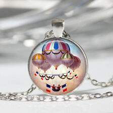Hot Air Balloon Tibet silver Dome Glass Cabochon Necklace chain Pendant #249