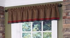 "Park Designs Cabin Lined Green Plaid Border Valance, 72"" X 14"""