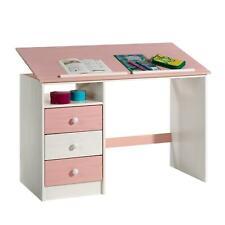 Bureau enfant écolier pupitre inclinable 3 tiroirs 1casier pin lasuré blanc rose