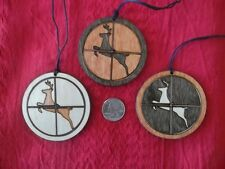 Set of 3 buck deer in crosshairs ornaments laser cut wood USA made hunter gift