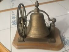 Vintage Brass Ship's Bell Desk Decor Mounted On Wood Wooden Base With Wheel