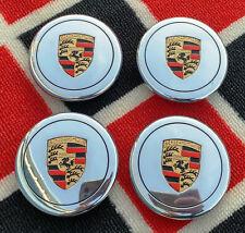 (4) Porsche 911 930 944 Fuchs Polished Center Caps Factory OEM Colored Crest