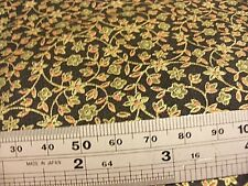 Large piece sewing fabric small chintz floral on black W112x300cm light weight