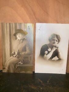 Antique Vintage RPPC Real Photo Postcard Young Woman Posing 2 Cards!