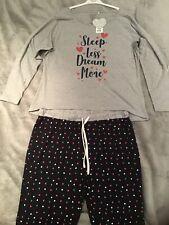 Sleep Less Dream More Pj Set Long Sleeved Rrp £22 Uk Size 18-20