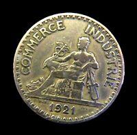 RARE PIECE ANCIENNE EN BRONZE CHAMBRE DE COMMERCE ET D'INDUSTRIE 2 FRANCS 1921