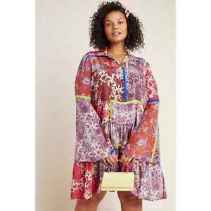 New Anthropologie Arabella Patchwork Tunic by Dhruv Kapoor $198 PLUS  2X