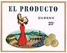 CIGAR BOX LABEL VINTAGE INNER ORIGINAL EL PRODUCTO EMBOSSED C1950S PEACOCK COINS