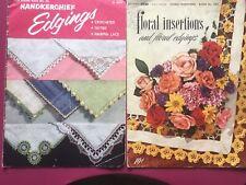 2 Vintage Crochet Instructions Booklets Floral Edging Flower Handkerchief Lace